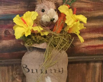 Bunny Bait Burlap Bag with Bunny Head.  Distressed Carrots. Housewarming. Country. Handmade.Cottage Chic.Spring. Shelf Setter. Burlap Floral