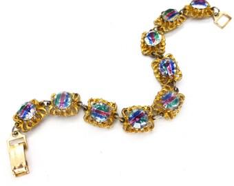 Vintage 1950s Iris Rainbow Glass Bracelet