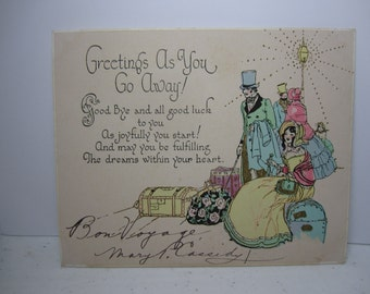 1920's Rust Craft art deco hand colored gold gilded greetings as you go away greeting card victorian people and pretty lady sits on luggage