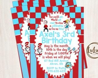 Cat in the Hat Birthday Invitation - Dr Seuss Birthday Invitation - First Birthday - Birthday Party Decor