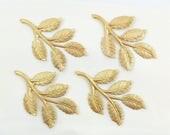 Brass Leaves, Raw Brass Leaf, Rose Leaf, Wedding Headpiece Supply, Hair Band Supply, Leaf Stamping, Brass Drop, 32mm x 50mm - 4 pcs. (r344)