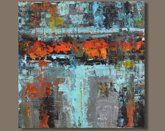 FREE SHIP abstract painting, orange turquoise, abstract expressionism, modern art, wall art on canvas, bold color, expressionist