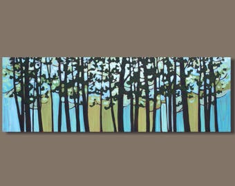 FREE SHIP abstract art, tree painting, panoramic painting, forest painting, turquoise, trees in silhouette, impressionist, landscape art