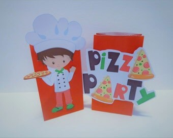 Pizza Party Favor bags Party Birthday  Girl or boy