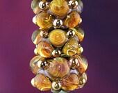 Amber Storm Handmade Lampworked Glass Beads OOAK Amber Gold Blue Set of Three Rondelles Lampwork