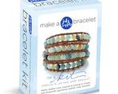 leather and gemstone wrap bracelet kit, blue green amazonite beads: DIY KIT supplies & tutorial