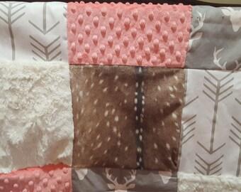 Woodland Crib Bedding- Gray Buck, Deer Skin Minky, White Tan Arrow, Ivory Crushed Minky, and Minky Crib Bedding Ensemble