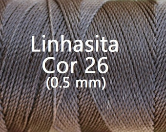 Linhasita (0.5 mm) Natural Brown cor 26 Waxed Polyester Macrame Beading Cord Durable/ Hilo