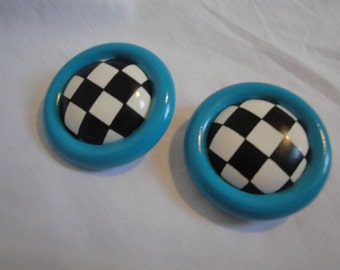 Vintage Checkered Clip On Earrings