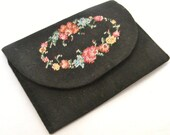 Sweet tiny antique black tapestry embroidered coin purse or lorgnette case