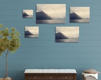 Cream Gray Ombre Fjord Ready To Hang Gallery Wrapped Canvas for the Wanderlust Traveler - 8 sizes available