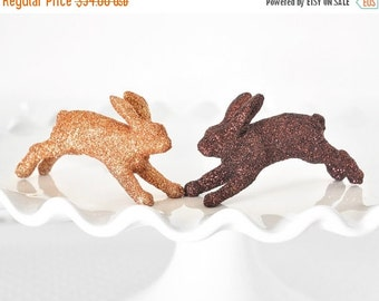 Woodland Wedding Cake Topper. Baby Bunnies in Brown and Fall Gold Glitter. Great for Girl or Boy Baby Bunny Shower Decorations or Nursery