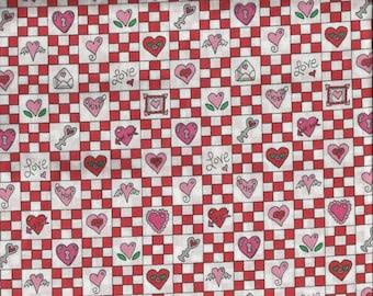 Valentine Red & White Checkered Hearts Print Cotton Fat Quarter Fabric