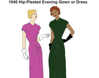 RH1420 — 1946 Hip-pleated Evening Gown or Dress