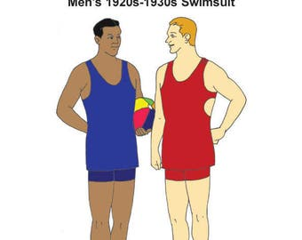 RH1250  — Men's 1920s-1930s Knit Swimsuit in LARGER SIZES