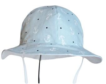 Baby Sun Hat, Baby Boy Sun Hat, Summer Hat, Nautical Hat, Newborn Hat, Anchor Hat, Cotton Floppy Hat, Beach Hat, Toddler Hat,  Made To Order