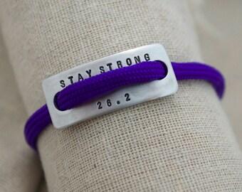 Personalized Marathon Bracelet - Mantra - Hand Stamped - Marathon Jewelry