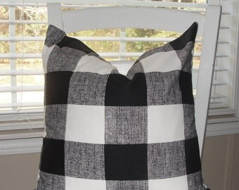 Premier Prints Throw Pillow Cover Black And White Buffalo Check Blocks