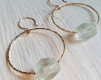 Chunky Aqua Sea Glass Hoops - hoops, beach glass, ocean jewelry, beach jewelry, hawaii