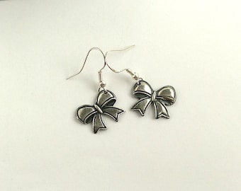 Silver Bow Earrings, Dangling Bows, Gift for Girl or Woman, Gift Under 50,