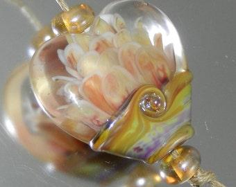 Cream Blush Lotus Heart Focal