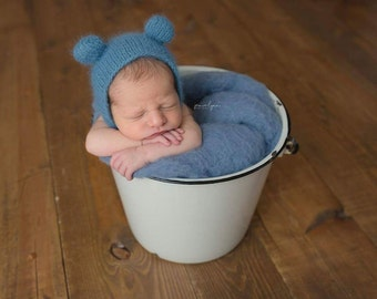 ready to ship, newborn photography prop, newborn blue bear bonnet hat, 0-2 weeks-soft to skin 100% angora yarn, baby shower gift