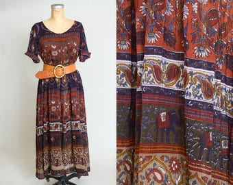 Vintage Indian Cotton Gauzy Cotton Jewel Tone Papillon Bohemian Festival Dress