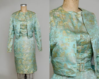 1950s Asian Satin Party Dress & Jacket Set Brocade Chinoiserie Sage Green / Gold Floral Metallic Wiggle Dress