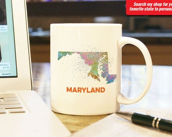 Maryland MD State Coffee Mug Cup w Splatter Watercolor Effect Gift Present Home Decor State Pride Salisbury Bethesda Baltimore Souvenir