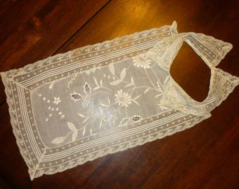 EXTRAORDINARY Antique Lawn Lace Bib, Collar...Handmade...Raised Detail ..Lace Collector...Reserved