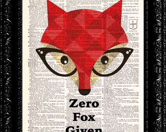 Zero Fox Given, Dictionary Print, Fox, Book Art, Upcycled Art, Wall Decor, vintage book art, animal art