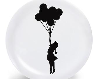 Melamine Plate Bansky Graffiti Street Art -  Banksy Flying Balloon Girl Melamine Plate - Dinner Plate - Banksy Home Decor -  Banksy Plate