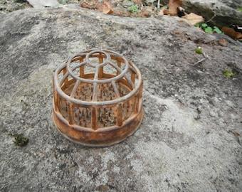 Primitive Cast Iron Rustic Dome Flower Frog