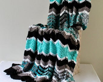 Crochet Afghan Cozy Throw Afghan Handmade Ripple Afghan Black Grey and Turquoise Blanket
