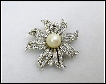 Large Rhinestone & Pearl Brooch Clasp, Large Flower Brooch, White Pearl, Necklace Clasp, Easter Brooch, Mothers Day Gift for Her