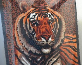 "Vintage Tiger scarf  animal lovers Shawl Safari Large Shawl 54""x 54"" Christmas gift winter shawl"