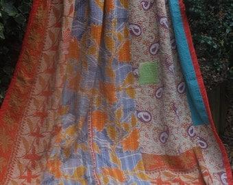 Soft Orange/yellow/ blue vintage kantha quilt, Kantha throw, Sari blanket, Vintage kantha quilt, Yellow Sari throw, Kantha blanket