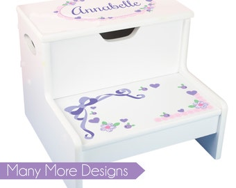 Girls Personalized Step Stool with Storage Stool Childs Step and Store Stool Great for Toddlers Baby Gift Step N Store Stools Bath STEP-whi