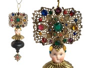 ON HOLD for VZ- handmade Christmas ornament, mixed media assemblage, fruit salad pin, altered art doll head ornament, by Elizabeth Rosen