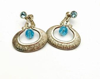 Vintage Screw ON Earrings, By Robert Rose, Silver Tone, Blue Rhinestones, Item No. B759