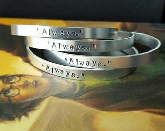 ALWAYS aluminum oval cuff bracelet, book, minimalist, love