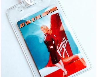 Vintage Inspired Virgin Airlines Luggage Tag