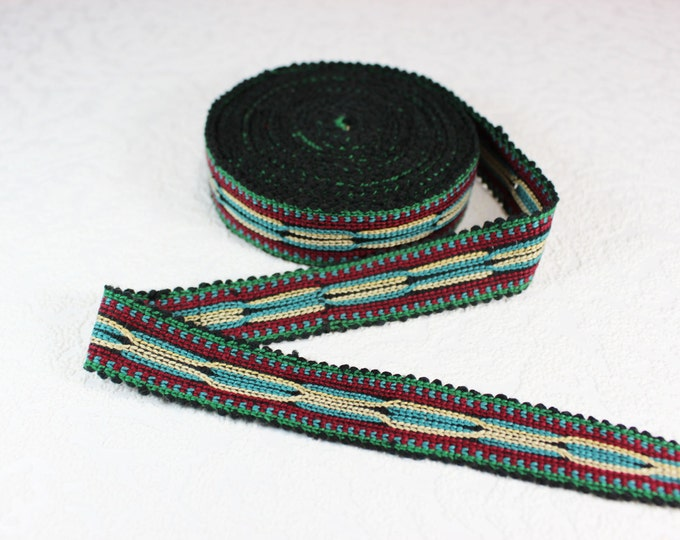 Woven Trim (6 yards), Woven Border, Cotton Ribbon, Grosgrain Ribbon, Dress Border, Border Trim, R153