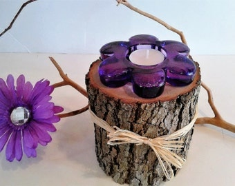 Flower candle - Tree branch candle - Mothers day candle - Glass candle - Purple candle - Home and Living - Holiday gift