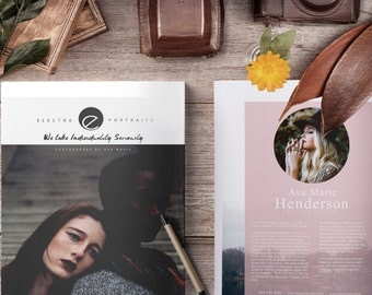 Photography Magazine, Photoshop Template, Digital Portrait Magazine Welcome Guide, Photo Marketing Brochure and Price Guide Template, PM200