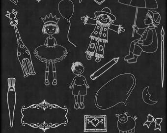 Chalk Art Mix 4,  Chalk Art, Chalkboard Clipart,  Clipart, Children Chalk Art, chalkboard Clip art, Instant Download