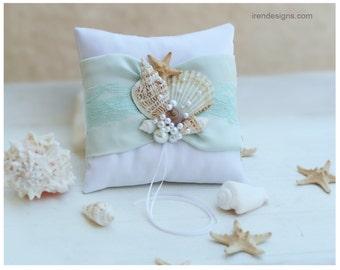Beach Ring Bearer Pillow. Ring Pillow. Aqua Color Ring Pillow. Sky Blue Bearer Pillow.