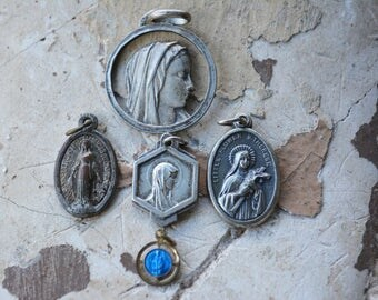 Vintage Religious Medals, Patron Saints Medals, St Bernadette, St. Therese, Miraculous Medal, Our Lady of Orcival, Christian Jewelry