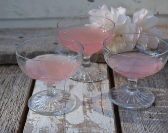 Three Faceted Dessert Glasses, Vintage stemware, 1930s, Parfait glasses, Vintage Home Decor