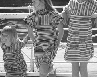 Vintage 1970s Girls Knitted Dress PATTERNS, Easy, Striped, Youth, Girl, Knitting PDF Pattern, Knitting Instant Download